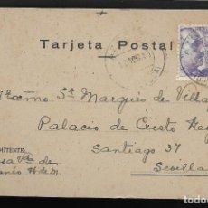 Sellos: POSTAL CIRCULADA AL PALACO DE CRISTO REY, MARQUESES VILLAPANES.-VARIEDAD DE ESCUDO Y TIPOGRAFIA,VER. Lote 267678594