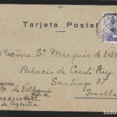Sellos: POSTAL CIRCULADA AL PALACO DE CRISTO REY, MARQUESES VILLAPANES.-VARIEDAD DE ESCUDO Y TIPOGRAFIA,VER. Lote 267678674