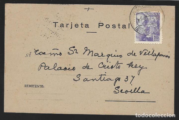 POSTAL CIRCULADA AL PALACO DE CRISTO REY, MARQUESES VILLAPANES.-VARIEDAD DE ESCUDO Y TIPOGRAFIA,VER (Sellos - España - Guerra Civil - Locales - Cartas)