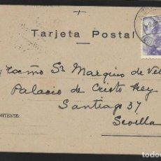 Sellos: POSTAL CIRCULADA AL PALACO DE CRISTO REY, MARQUESES VILLAPANES.-VARIEDAD DE ESCUDO Y TIPOGRAFIA,VER. Lote 267678704