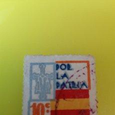 Sellos: ESPAÑA POR LA PATRIA GUERRA CIVIL ESPAÑOLA 10 CTMOS LUARCA IMPRENTA ASTURIAS USADO. Lote 267767954