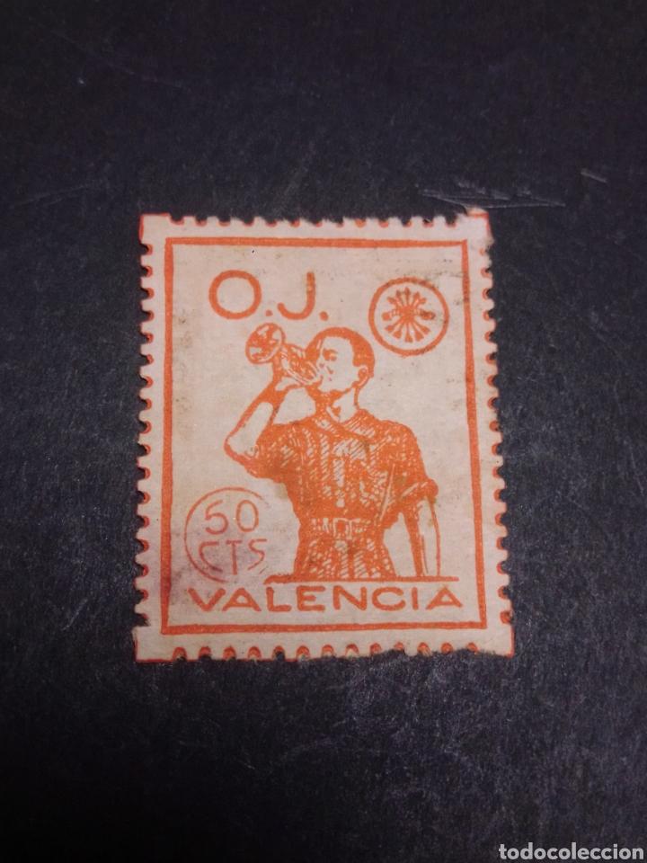 VIÑETA DE LA ORGANIZACIÓN JUVENIL DE FALANGE. VALENCIA. 50 CTS. (Sellos - España - Guerra Civil - Viñetas - Usados)