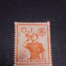Timbres: VIÑETA DE LA ORGANIZACIÓN JUVENIL DE FALANGE. VALENCIA. 50 CTS.. Lote 267816209