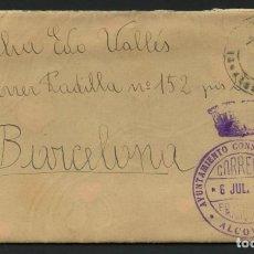Sellos: GUERRA CIVIL, CARTA, FRANQUICIA, VIÑETA, AYUNTAMIENTO CONSTITUCIONAL DE ALCOVER, 1938. Lote 268124854