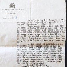 Sellos: GUERRA CIVIL COMANDANCIA MILITAR MANRESA BRIGADA MIXTA SOLDADO DESAPARECIDO 1938. Lote 268719789