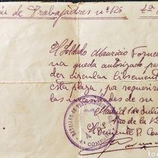 Sellos: GUERRA CIVIL SALVOCONDUCTO AUTORIZO BATALLÓN DE TRABAJADORES 4TA COMPAÑÍA 1939 MADRID. Lote 268721849