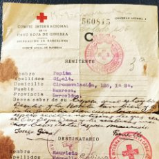 Sellos: GUERRA CIVIL CARTA COMITÉ INTERNACIONAL CRUZ ROJA MANRESA CORRESPONDENCIA 1938. Lote 268722234