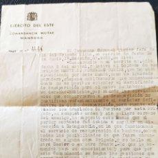 Sellos: GUERRA CIVIL EJÉRCITO DEL ESTE DESAPARECIDO SOLDADO MANRESA 1938. Lote 268722804