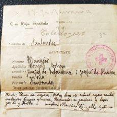 Sellos: GUERRA CIVIL CARTA POR LA CRUZ ROJA DE SOLDADO1938 CONTESTADA RARA. Lote 268723739