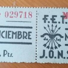 Sellos: MÁLAGA. FET JONS. 2 CUOTAS AÑOS 40.. Lote 268761984