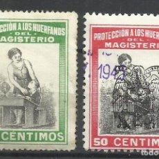 Sellos: 293-SELLOS FISCALES PROTECCION HUERFANOS MAGISTERIO 1939 SELLO REPUBLICANO Y OTRO CON HABILITACION N. Lote 269136003