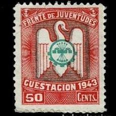 Sellos: 0227 GUERRA CIVIL - FRENTE DE JUVENTUDES CUESTACION 1943 - VALOR 50 CENTS. COLOR ROJO Y VERDE. Lote 269172658