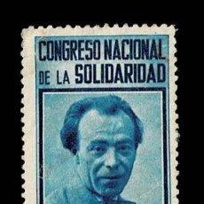 Sellos: GG- 2446 GUERRA CIVIL CONGRESO NACIONAL DE SOLIDARIDAD 1938 EFIGIE DE EMILIANO BARRAL NUEVO CON FIJA. Lote 269202268