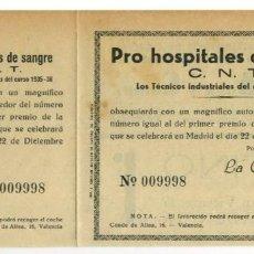 Sellos: ESPAÑA. GUERRA CIVIL. BOLETO Y MATRIZ PARA SORTEO CNT PRO HOSPITALES DE SANGRE 22 DICIEMBRE 1936. Lote 269205218