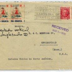 Sellos: ESPAÑA GUERRA CIVIL. PAREJA VIÑETAS PRO - INFANCIA EN SOBRE BARCELONA A USA 1934.. Lote 269214923