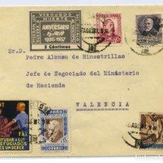 Sellos: ESPAÑA GUERRA CIVIL. SOBRE BARCELONA 5 AGO 1937 A VALENCIA. VIÑETA CNT - FAI Y VERDUGOS DEL PUEBLO. Lote 269215633