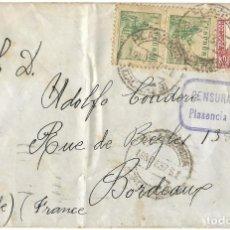 Sellos: 1937 CARTA GUERRA CIVIL PLASENCIA (CÁCERES) A FRANCIA. CENSURA. FRANQUEO INSUFICIENTE. Lote 269302993
