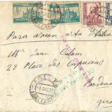 Sellos: 1937 CARTA GUERRA CIVIL SOLLER (MALLORCA) A FRANCIA. CENSURA. CORREO AÉREO VÍA ITALIA. Lote 269305478