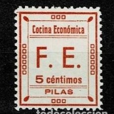 Sellos: CL8-12 GUERRA CIVIL PILAS (ESTRECHO) FESOFI Nº 4 VALOR 5 CTS COLOR ROSA CARNE PAPEL DELMEINA NUEVO S. Lote 269499948