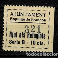 Sellos: CL-556 VIÑETA GUERRA CIVIL - AJUNTAMENT DE ESPLUGA DE FRANCOLÍ - AJUT ALS REFUGIATS - SERIE B - 10. Lote 269500228