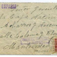 Sellos: ESPAÑA GUERRA CIVIL. PROVINCIA DE PONTEVEDRA. SOBRE DE LA CAÑIZA A URUGUAY 5 AGO 38 CENSURA C49.1. Lote 269821618
