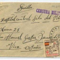Sellos: ESPAÑA GUERRA CIVIL.PROVINCIA PONTEVEDRA. SOBRE DE PORRIÑO A SEVILLA 9 MAY 37 CENSURA P72.2 VTA.. Lote 269826198