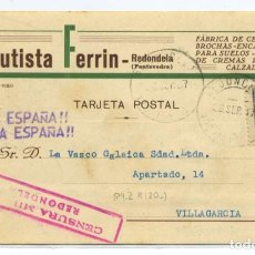 Sellos: ESPAÑA GUERRA CIVIL.PROVINCIA PONTEVEDRA. TARJETA COMERCIAL DE REDONDELA A VILLAGARCÍA 26 SEPT 37. Lote 269826558