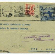 Sellos: ESPAÑA GUERRA CIVIL. PROVINCIA PONTEVEDRA. FRONTAL DE VIGO A TUY, 8 MAY 37, CENSURA V43.4A Y VIÑETA. Lote 269829293