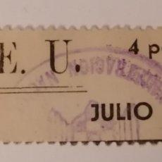 Sellos: VALENCIA. S.E.U. CUOTA 4 PESETAS. AÑOS 40.. Lote 269849313