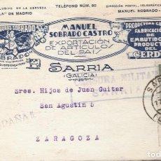 Sellos: GUERRA CIVIL.1936 (ERROR ES 1939) SÁRRIA (LUGO)TARJETA POSTAL PUBLICITARIA CENSURA MILITIAR. Lote 269958203