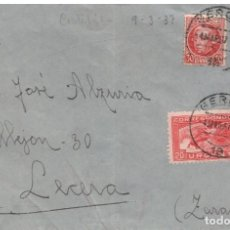 Sellos: 4 MAR. 1937 GERONA A LECERA (ZARAGOZA) SELLO DE URGENTE.FECHADOR AMB..BARNA. PORT-BOU. Lote 270355728