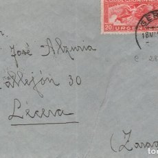 Sellos: 18 MAR.1937 GERONA A LÉCERA (ZARAGOZA) SELLO DE URGENTE.FECHADOR AMB. BARNA-PORT.BOU 7/CERTI. Lote 270358283