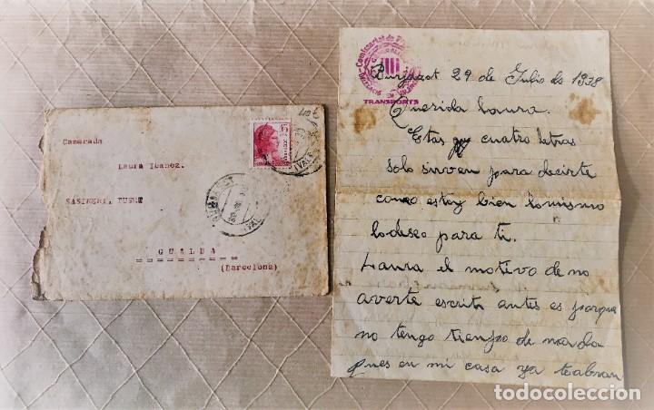 VALENCIA- GUALBA (BARCELONA) CARTA CIRCULADA DESDE EL FRENTE DE VALENCIA 1938 (Sellos - España - Guerra Civil - De 1.936 a 1.939 - Cartas)