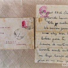 Sellos: VALENCIA- GUALBA (BARCELONA) CARTA CIRCULADA DESDE EL FRENTE DE VALENCIA 1938. Lote 270931883