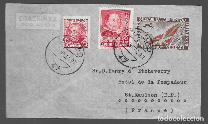 EUZKADI, CARTA CIRCULADA A FRANCIA,VER FOTOS (Sellos - España - Guerra Civil - Locales - Cartas)