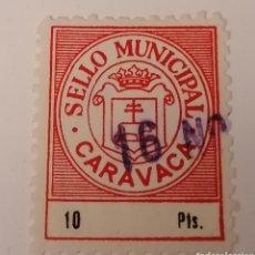 Sellos: CARAVACA. MURCIA. SELLO MUNICIPAL. 10 PESETAS.. Lote 274280463