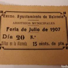 Sellos: VALENCIA. AYUNTAMIENTO. ARBITRIOS MUNICIPALES. FERIA JULIO 1907. 15 CENTIMOS. Lote 274280888