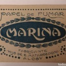 Sellos: ALCOY. ALICANTE. PAPEL DE FUMAR MARINA. HIJO DE E. MATARREDONA. VIÑETA CON GOMA. Lote 274281308