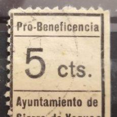 Selos: VIÑETA GUERRA CIVIL. PRO BENEFICENCIA AYUNTAMIENTO DE SIERRA DE YEGUAS. USADA.. Lote 275745368