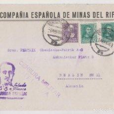 Timbres: SOBRE. COMPAÑÍA ESPAÑOLA DE MINAS DEL RIF. 1939. MELILLA. CENSURA MILITAR. VER DORSO. Lote 276073133