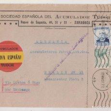 Timbres: SOBRE. ZARAGOZA. 1937. CENSURA MILITAR. A BERLÍN VÍA LISBOA O VIGO. ETIQUETA. Lote 276074528