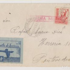 Timbres: SOBRE. BALNEARIO DE MONDARIZ, PONTEVEDRA. GALICIA. 1937. CENSURA MILITAR. AUXILIO DE INVIERNO. Lote 276077033