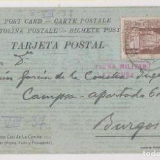 Timbres: TARJETA POSTAL DEL GOBIERNO CIVIL DE LA CORUÑA A BURGOS. 1937. VER DORSO. Lote 276081003