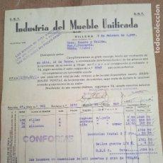 Francobolli: FACTURA DE INDUSTRIA DEL MUEBLE UNIFICADA. CNT - UGT. VILLENA. 1938. VIÑETAS COMITE DE REFUGIADOS. Lote 276472953