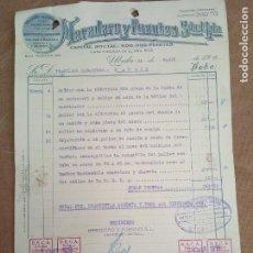 Sellos: FACTURA DE HEREDERO Y FUENTES. UBEDA. 1938. VIÑETAS DE D.E.C.A. REFUGIOS SUBTERRANEOS.. Lote 276474093