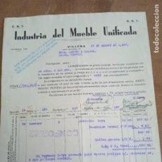 Sellos: FACTURA DE INDUSTRIA DEL MUEBLE UNIFICADA. CNT - UGT. VILLENA. 1937. VIÑETAS COMITE DE DEFENSA AN. Lote 276474708