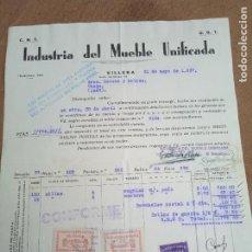 Sellos: FACTURA DE INDUSTRIA DEL MUEBLE UNIFICADA. CNT - UGT. VILLENA. 1937. VIÑETAS COMITE DE DEFENSA AN. Lote 276475093