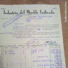 Sellos: FACTURA DE INDUSTRIA DEL MUEBLE UNIFICADA. CNT - UGT. VILLENA. 1938. VIÑETAS COMITE DE REFUGIADOS. Lote 276475963