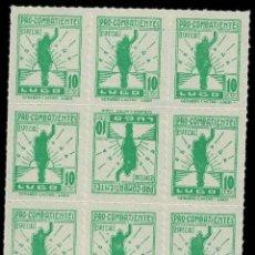 Sellos: CL8-13 GUERRA CIVIL LUGO FESOFI Nº 23 (PAPEL BLANCO) BLOQUE DE 9 CON EN Nº 23PC (CAPICUA) EN EL CE. Lote 276502838