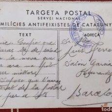 Timbres: GUERRA CIVIL TARJETA POSTAL MILICIAS ANTIFEIXISTAS DE CATALUNYA COLUMNA DE ASCASO CNT 1936. Lote 276520078